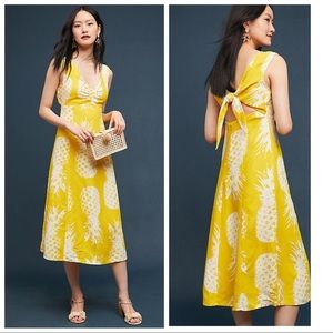 BNWT ANTHROPOLOGIE MEAVE Pineapple Midi Dress 16